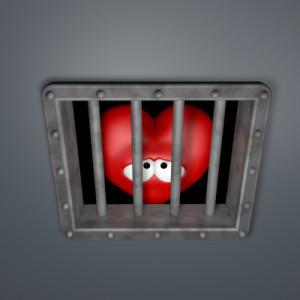 sad cartoon heart behind prison window - 3d illustration
